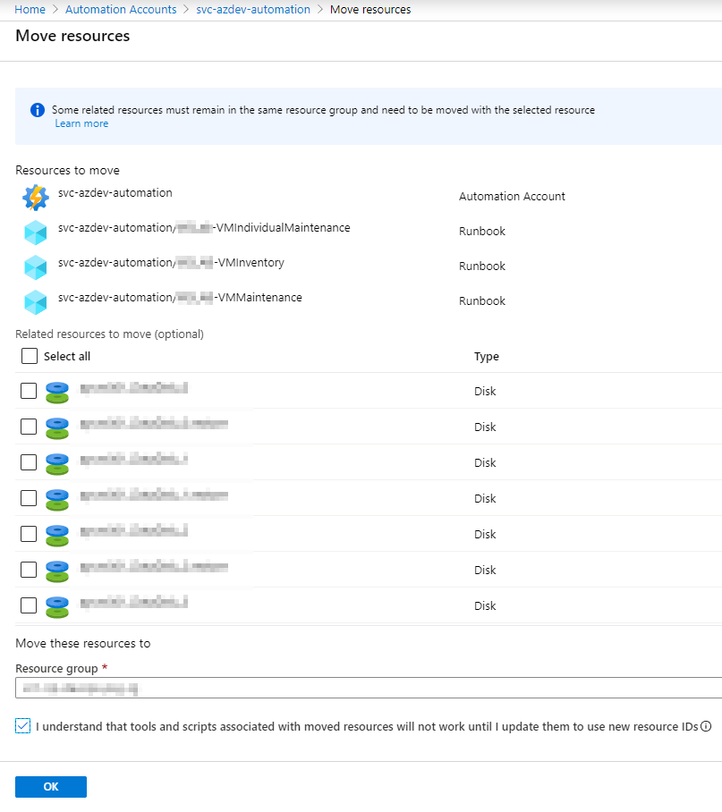 Moving Azure resources