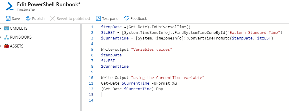 local time Azure Automation