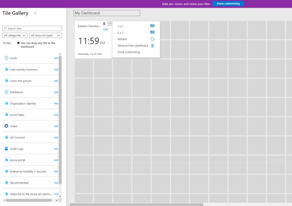 custom dashboard in Azure AD