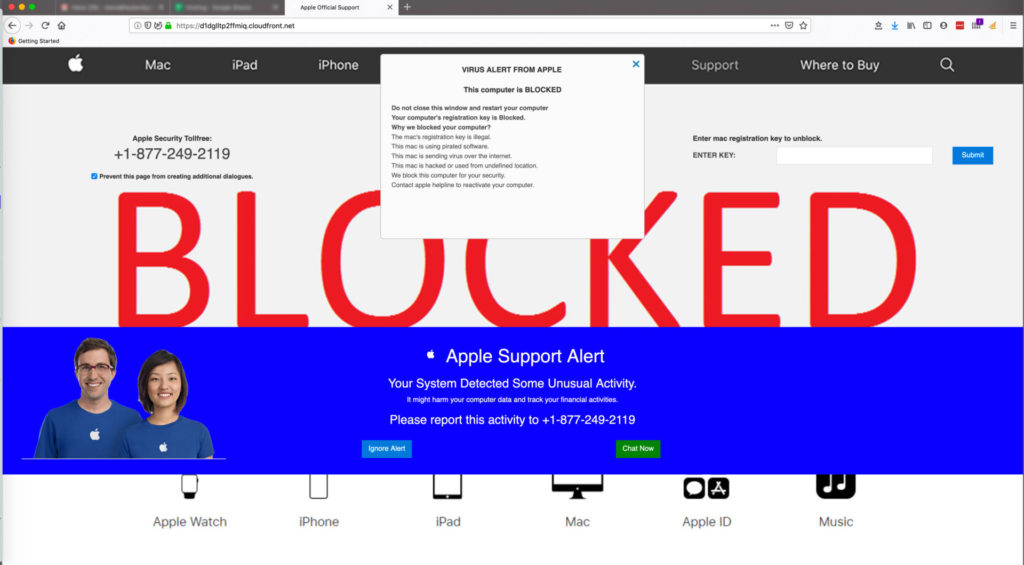 fake virus alerts from 'Apple'