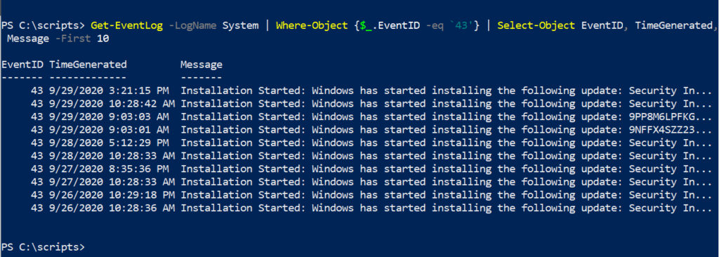 powershell log files