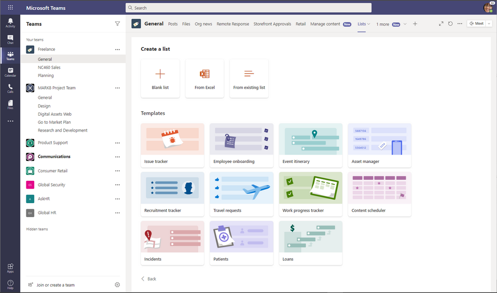 Microsoft Lists in Microsoft Teams: