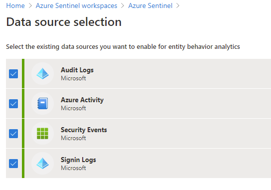 Data source selection for entity behavior analytics