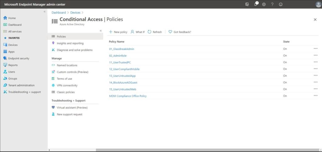 Conditional Access s pane
