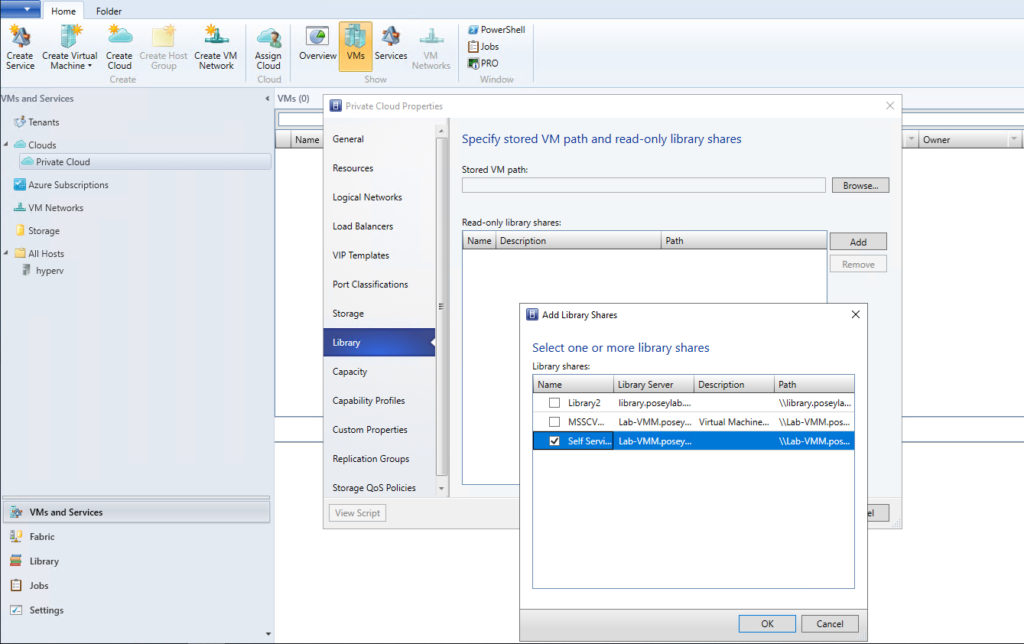 virtual Machine Manager self-service users