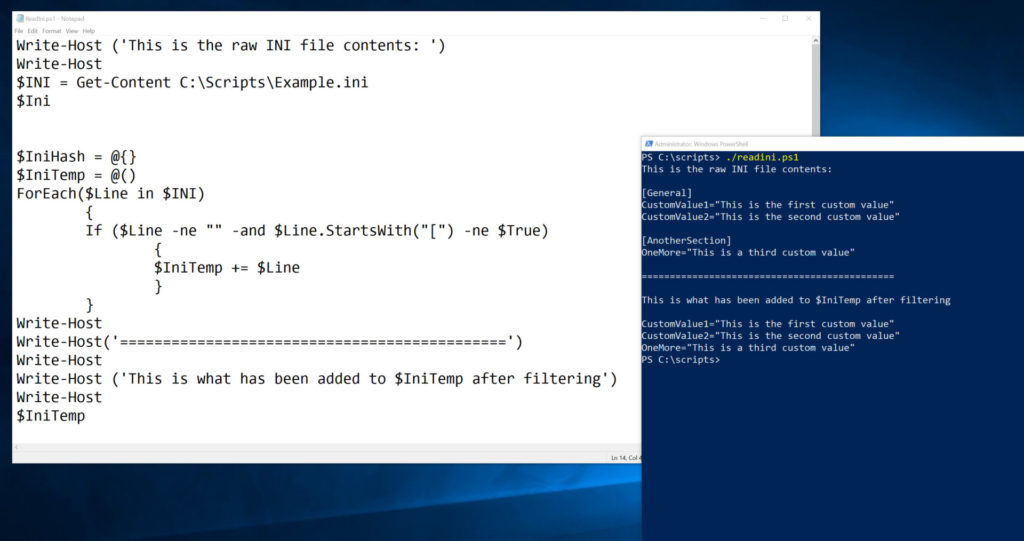 Reading an INI file into PowerShell
