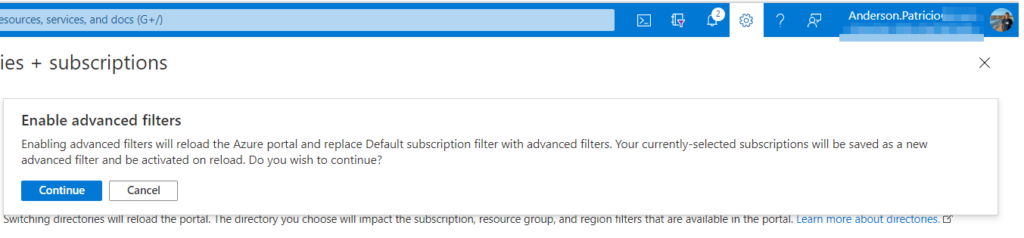 advanced filters with Microsoft Azure subscriptions